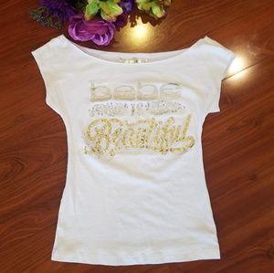 Bebe White Foil Design Logo Shirt Small